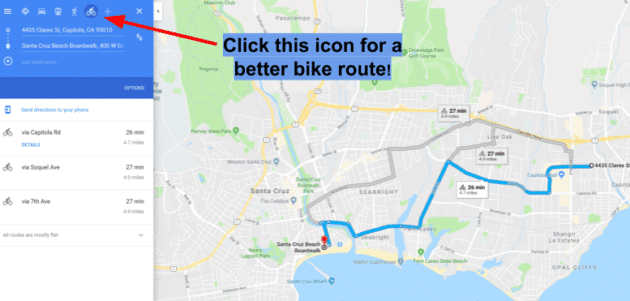 bike route on google maps