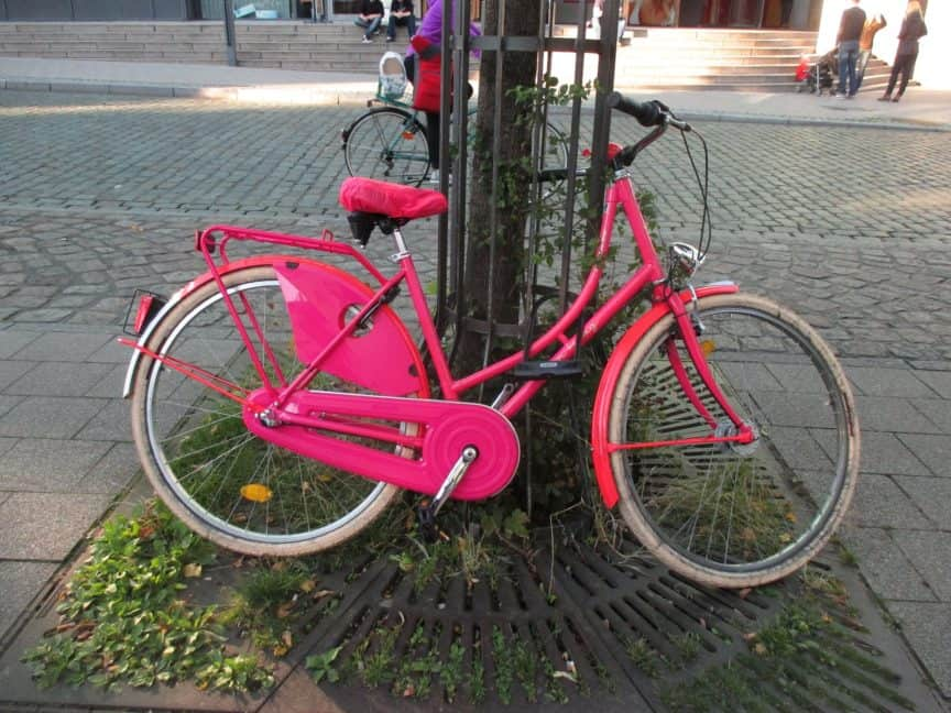 pink womans bicycle