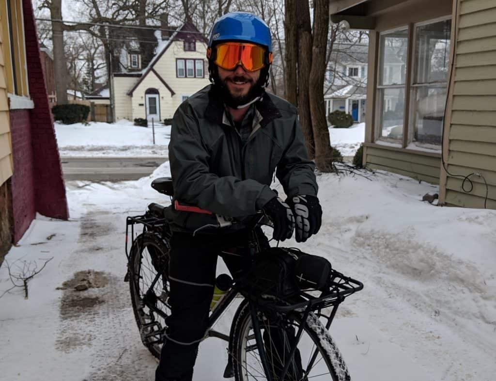 bike commuter in michigan snow