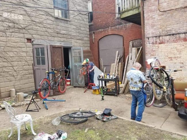 Our Tweed Ride club house working on The Schwinn