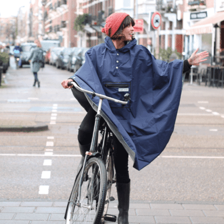 navy peoples poncho for biking