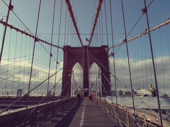 biking on brooklyn bridge