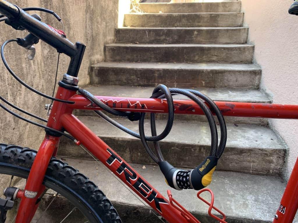 coil lock around the bike frame