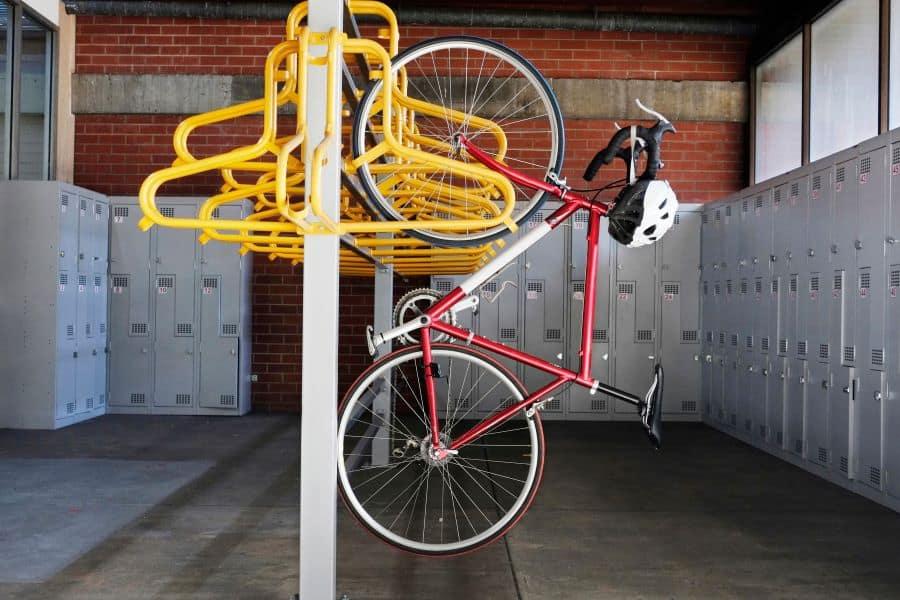 bikes hanging in locker room