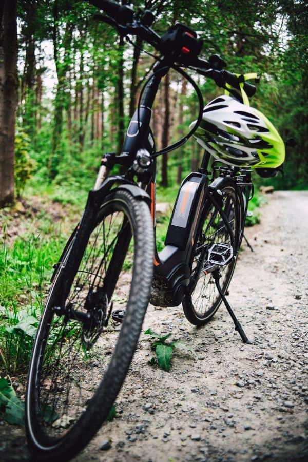 Hybrid bike on trail