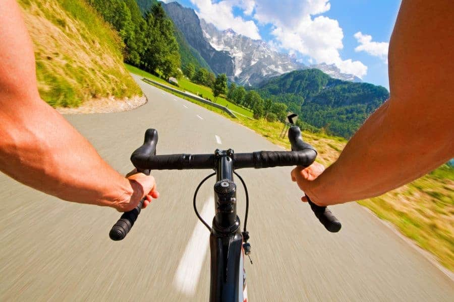 road cycling in the mountains
