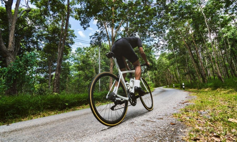 Road cyclist going uphill
