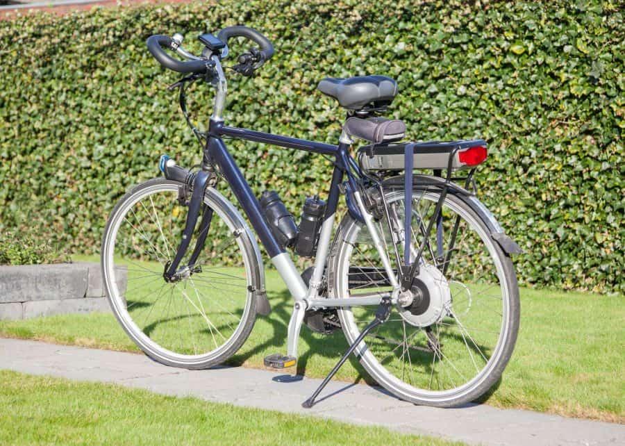 Electric bike stood up on cycle path