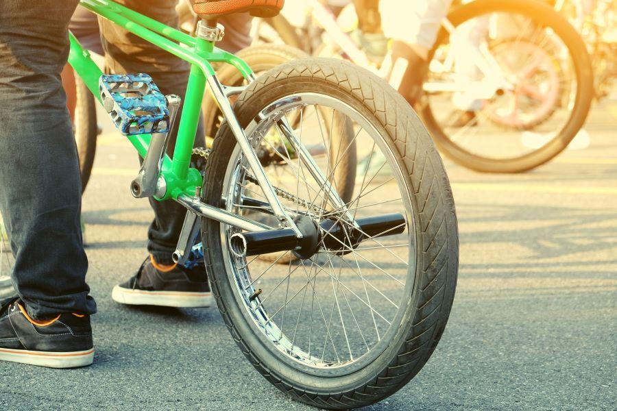 Rear wheel of a BMX bike