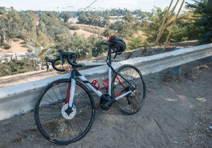 Road bike on a dusty roadside